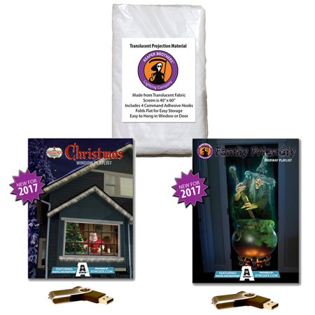 Atmosfearfx Christmas And Halloween Digital Decorations Kit On Usb Stick Includes Reaper Bros 40   X 60   Projection Screen   Christmas Playlist   Family Friendly Compilation Videos