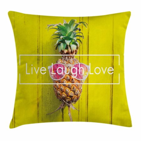Live Laugh Love Decor Throw Pillow Cushion Cover, Tropical Pineapple with Sunglasses on Yellow Wood Board Joyful Print, Decorative Square Accent Pillow Case, 20 X 20 Inches, Multicolor, by Ambesonne for $<!---->