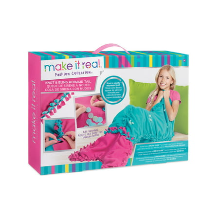 Knot & Bling Mermaid Tail, Kids DIY Fleece Mermaid Blanket Making Kit