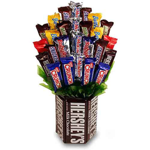 Sweets In Bloom Chocolate Indulgence Hershey Base And Candy Bar Bouquet
