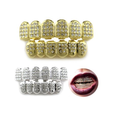 Moaere 14K Gold/Silver Teeth Grillz Top Bottom Iced Out CZ Hip Hop Tooth Cap Grill - Fake Teeth Grillz