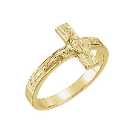 Roy Rose Jewelry 14K Yellow Gold Men's Crucifix Chastity Ring Size 8 Crucifix Chastity Ring
