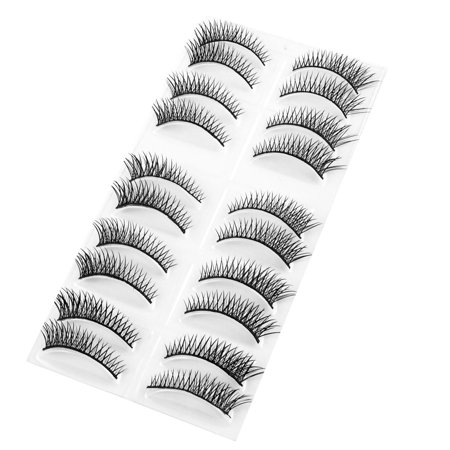 Unique Bargains10 Pairs Costume Party Cosmetic Black Long Curly Fake Eyelashes for Women](Costumes Unique)