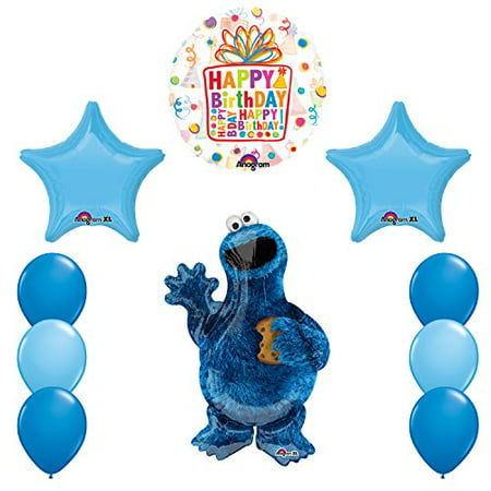 Sesame Street Cookie Monsters Birthday party supplies and Balloon Decorations - Cookie Monster Party Ideas