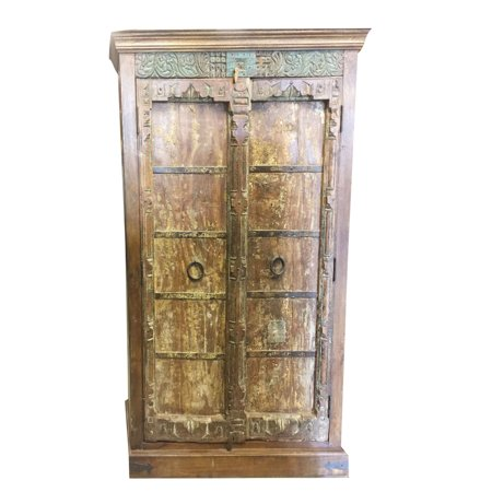 Mogul Indian Antique Armoire Old Doors Rustic Furniture Iron Storage  Cabinet Vintage Shabby Chic Decor - Mogul Indian Antique Armoire Old Doors Rustic Furniture Iron Storage