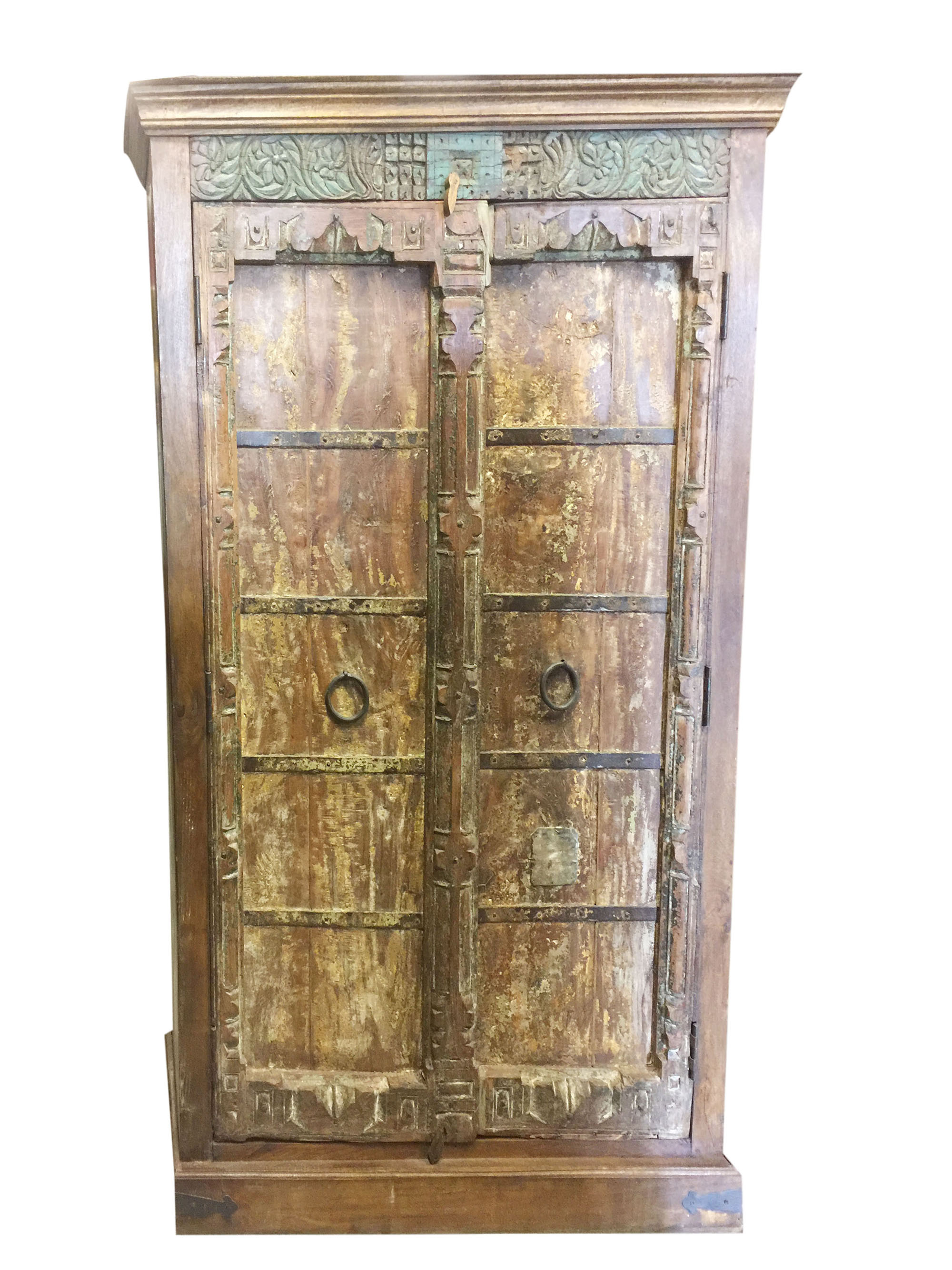 Mogul Indian Antique Armoire Old Doors Rustic Furniture Iron Storage  Cabinet Vintage Shabby Chic Decor