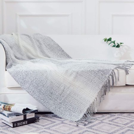 "Cheer Collection Gray Ombre 50"" x 60"" Throw Blanket"