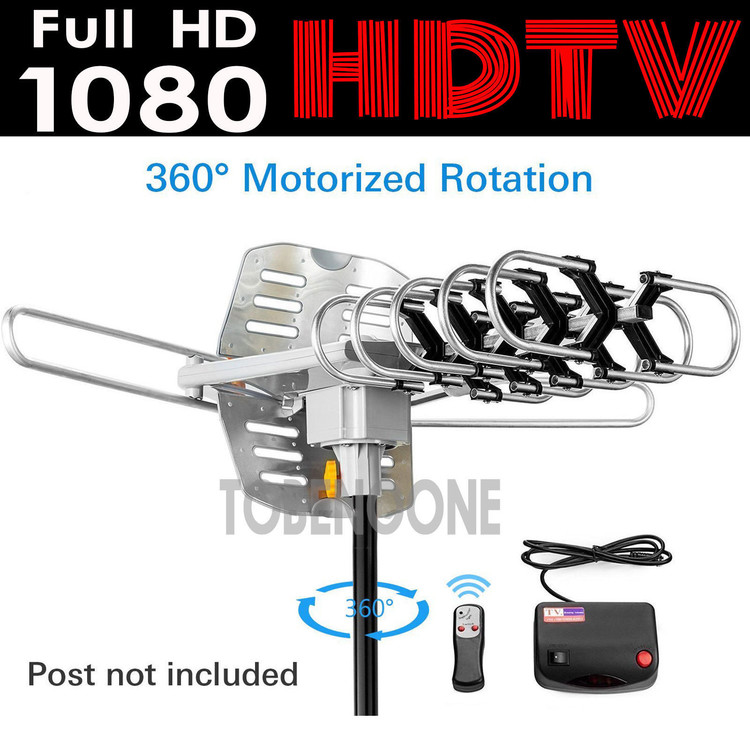 Amplified Digital HDTV Outdoor Antenna with Motorized 360 Degree Rotation - 150 Miles Range - Wireless Remote (WA2608)