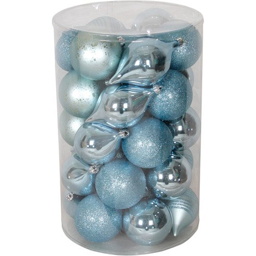 holiday time 35 piece shatterproof christmas ornament set teal walmartcom