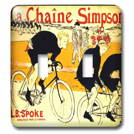 3dRose French Ad The Chain For Bikes By Lautrec - Double Toggle Switch (lsp_62257_2)