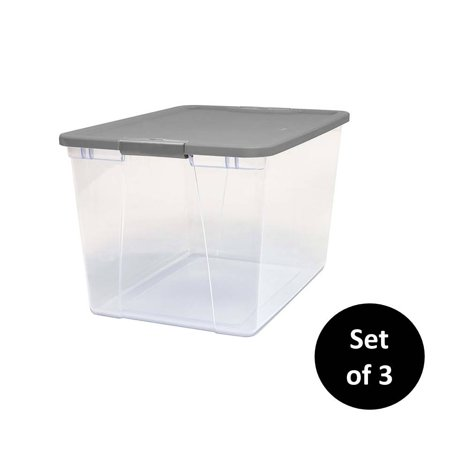 Mainstays 64 Quart Clear Storage Container with Grey Lid, Set of 3