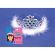 Star Power Women Feather & Jewel Princess Tiara, Silver, One Size