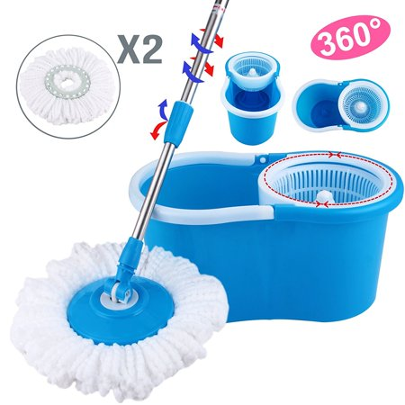 (Microfiber Spining Magic Spin Mop W/Bucket 2 Heads Rotating 360° Easy Floor Mop Washable Plastic Handle)
