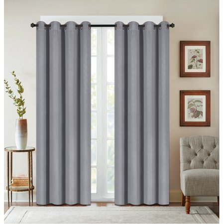 Texured Design - 2 Pack: Textured Design Blackout Curtain Panels - Grey