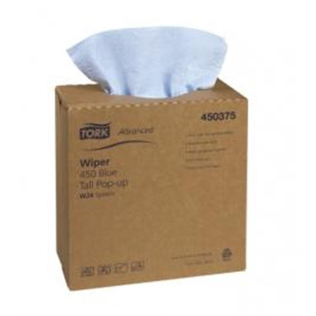 Tork Auto Wipes - SCA Tissue N Amer TW450375 Pop Up Blue Advanced 450 DRC Wipes - Case of 10