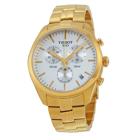 Tissot PR100 Chronograh White Dial Gold PVD Mens Watch T1014173303100