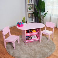 Costway Kids Table and 2 Chairs Set with Storage Boxes For Toddler Gift Desk Pink