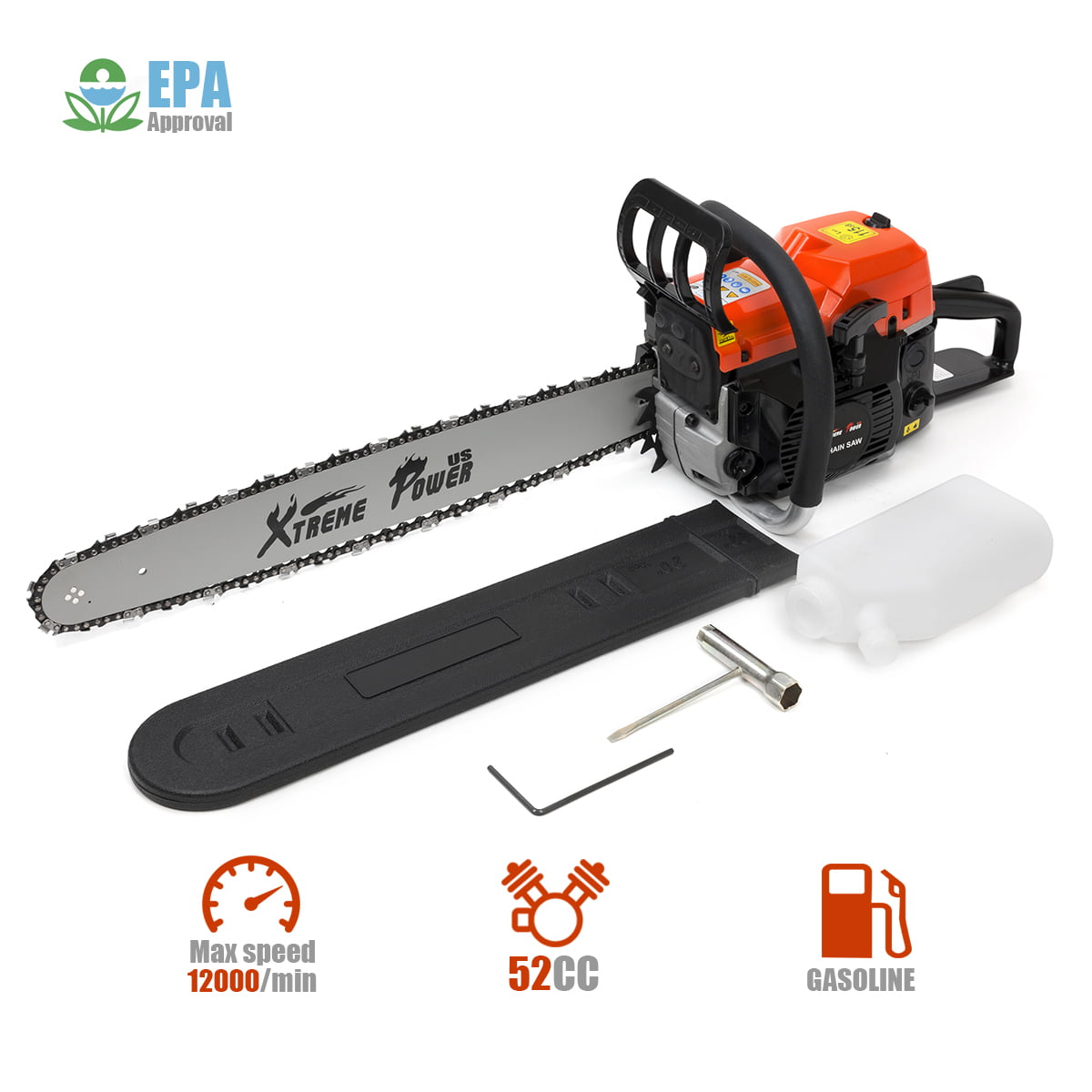 XtremepowerUS 52cc Gas Chainsaw 2.7HP Engine 2-Stroke Wood Cutting Tree Log Cutter Trimmer Crankcase EPA by