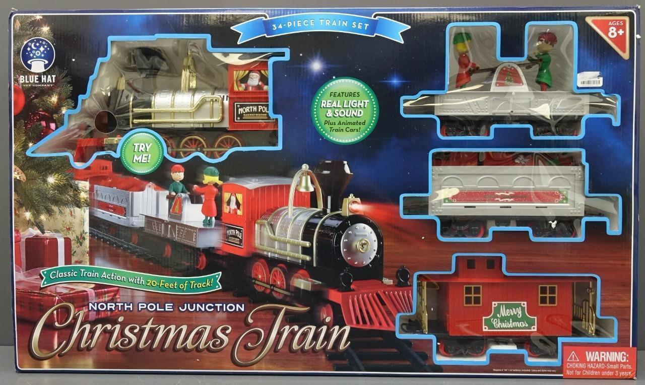 Train Set North Pole Junction Christmas Train Blue Hat Toy 20\' Track ...