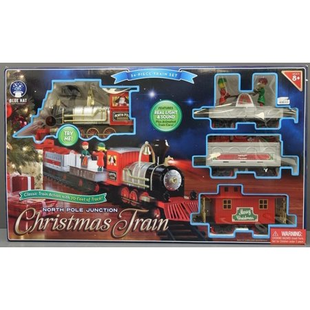 Christmas Train Set.Train Set North Pole Junction Christmas Train Blue Hat Toy 20 Track Light Sound