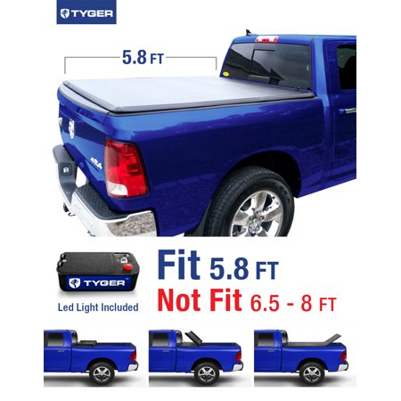 Tyger Tg Bc3d1015 Tri Fold Pickup Tonneau Cover Fits 2009 2016 Dodge Ram 1500 5 8 Feet  69 6 Inch  Trifold Truck Cargo Bed Tonno Cover  Not For Stepside  2010 2011 2012 2013 2014 2015