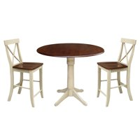 "42"" Round Pedestal Counter Height Table with Two Stools - Almond/Espresso"