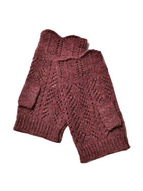Soft Burgundy Red Soft Lambswool V-Diamond Design Fingerless Gloves