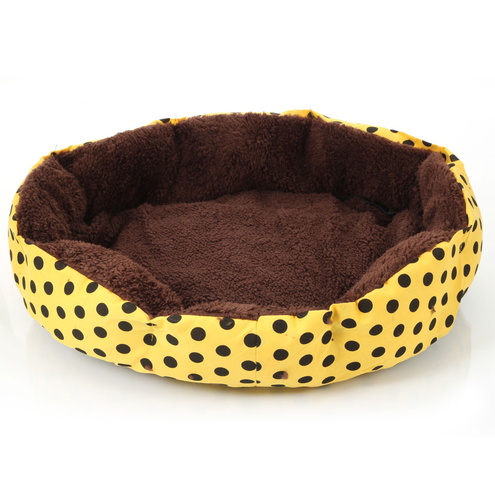Zimtown Nice-looking Dot Pattern Octagonal Flannelette & Cotton Dog and Cat Bed S L Size