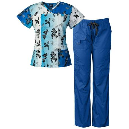 Parts Set Scale (Medgear Women's Scrubs Set Multi-Pocket Top & Pants, Medical Uniform)