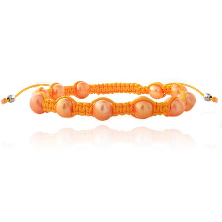 7.5-8mm Orange Freshwater Cultured Pearls Shamballa Adjustable Bracelets, 7.5