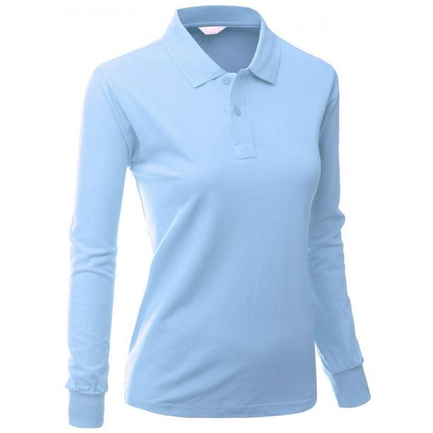 FashionOutfit Women's Cotton Pk Silket Polo Dri Fit Long Sleeve Collar T  Shirt