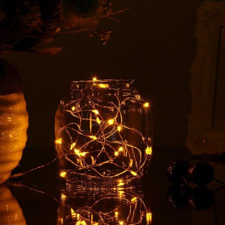 Perfect Holiday 20 Led Fairy String Light Battery Operated Copper Wire Yellow