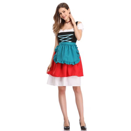Carnival Dresses Ideas (Women's German Dirndl Dress 3 Pieces Traditional Bavarian Oktoberfest Costumes for Halloween)