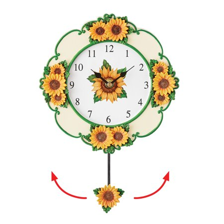 Bright Yellow Sunflower Wall Clock with Swinging Pendulum - Seasonal Décor for Any Room in Home
