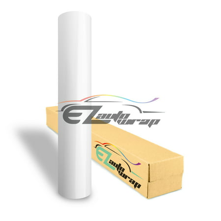 EZAUTOWRAP Gloss White Glossy Car Vinyl Wrap Vehicle Sticker Decal Film Sheet With Air Release