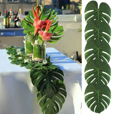Girl12Queen 12Pcs Artificial Tropical Monstera Leaves Party Hotel Wedding Table Decoration