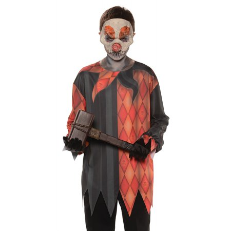Photo Real Top Child Costume Evil Clown - Medium](Evil Clown Halloween Prop)