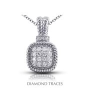 Diamond Traces UD-OS2750-9956 0.50 Carat Total Natural Diamonds 14K White Gold Pave Setting Rope Edging with Milgrain Fashion Pendant