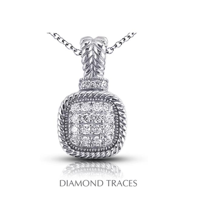 Diamond Traces UD-OS2750-9956 0. 50 Carat Total Natural Diamonds 14K White Gold Pave Setting Rope Edging with Milgrain