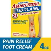 Aspercreme Lidocaine Foot Pain Relief Crème (4 Oz), Odor Free