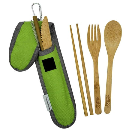 - Bamboo Travel Utensil Set Summer Green | Bamboo Fork, Knife, Spoon, Chopsticks, Straw, Straw-cleaning brush, Travel Pouch and Carabiner | Excellent For Everyday Use!