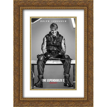 The Expendables 3 18x24 Double Matted Gold Ornate Framed Movie Poster Art Print