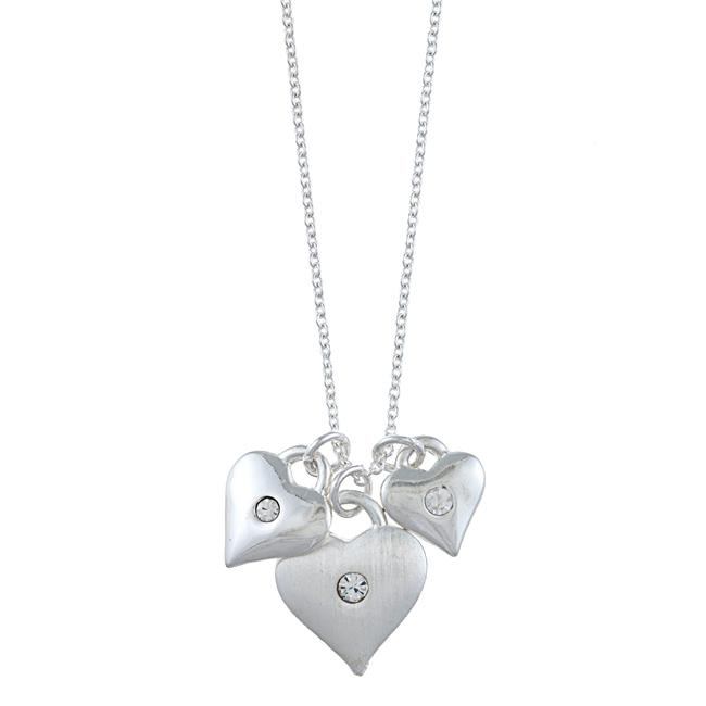 Zirconmania 629P-11815S Silvertone Triple Heart and Crystal Love Charm Necklace