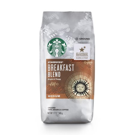 Starbucks Breakfast Blend Medium Roast Ground Coffee, 12-Ounce Bag
