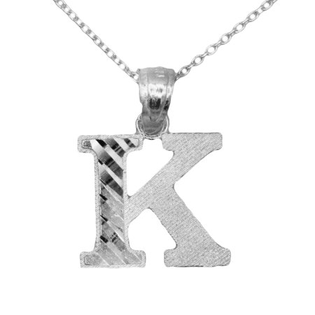 Initial 925 Silver Jewelry Pendant - 925 Sterling Silver Letter K Initial with Diamond Cut Finish Pendant Necklace (No Chain)