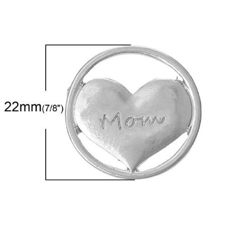 Mom Heart Floating Charms Dish Plate for Glass Locket Pendants and Floating - Floating Lockets And Charms