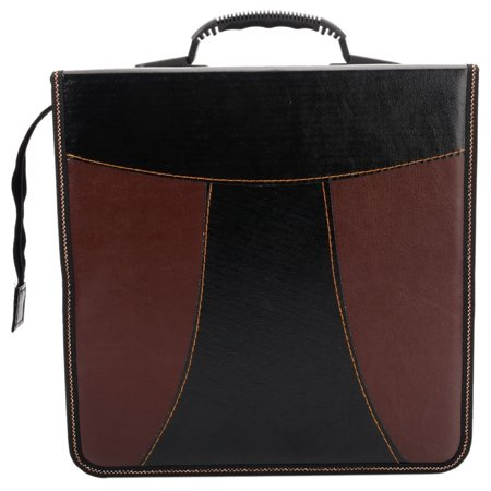 400-Piece Capacity Faux Leather Patchwork CD DVD Storage Bag Holder Case Black & (Brown Leather Cd Holder)