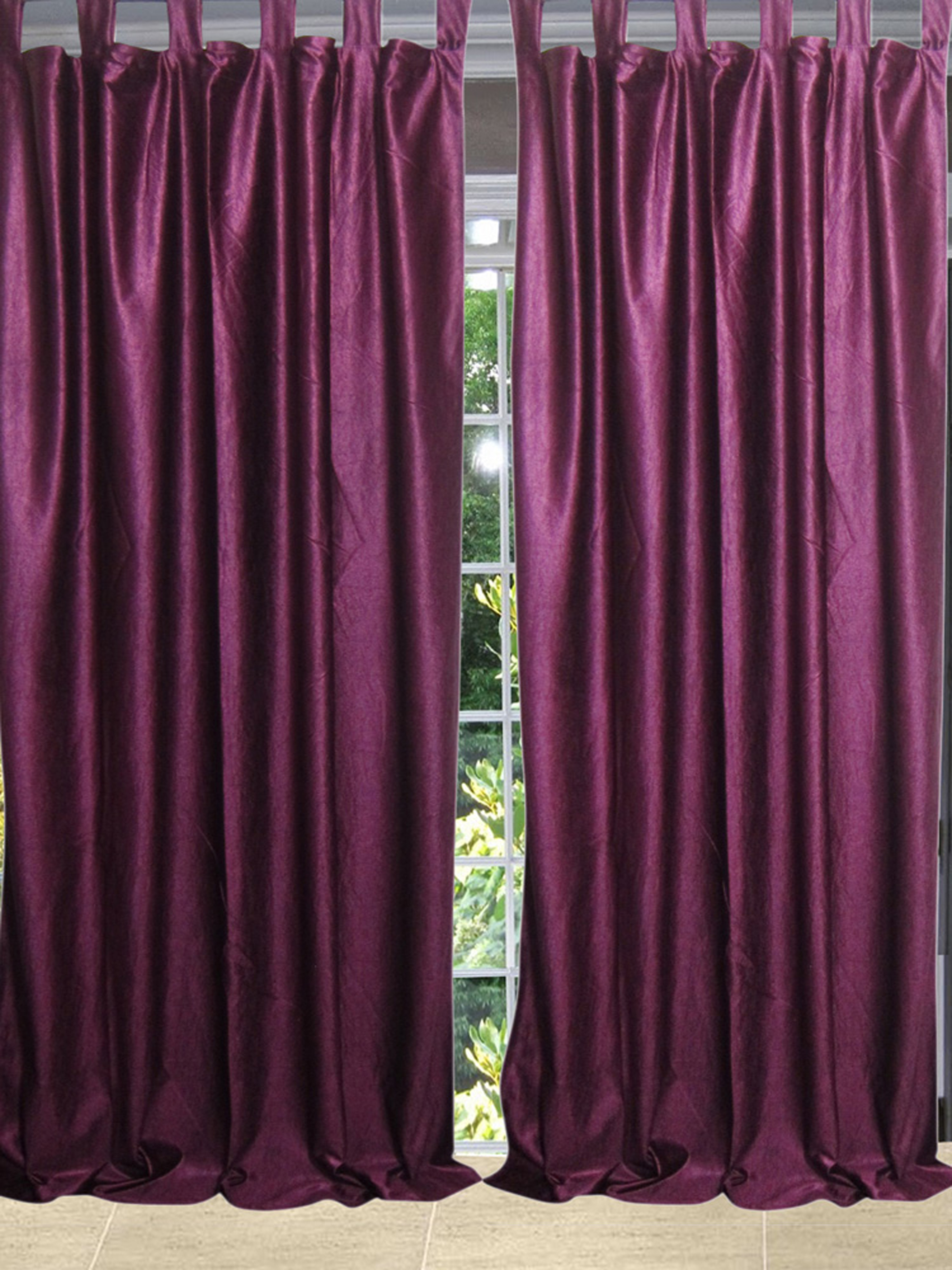 Mogul Bohemian Décor Purple Curtains Drape 2 Panels Window Treatment (96x48)