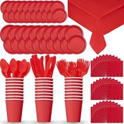 """""""Party Supply Pack for 24 - Red - 2 Size plates, Cups, Napkins , Cutlery (Spoons, Forks, Knives), and tablecovers"""""""
