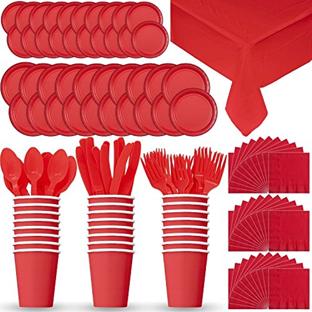"""Party Supply Pack for 24 - Red - 2 Size plates, Cups, Napkins , Cutlery (Spoons, Forks, Knives), and tablecovers"""